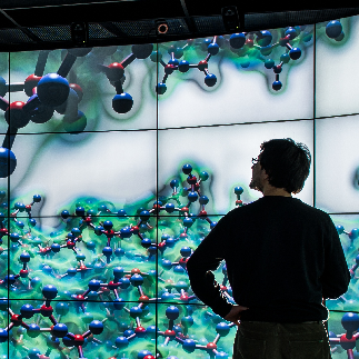Large scale visualization on the Powerwall.